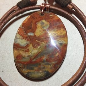 "Jewelry - FLASH SALE16""Mexican Agate Leather Choker Necklace"